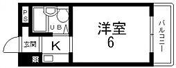 ハイツ八戸ノ里[406号室号室]の間取り