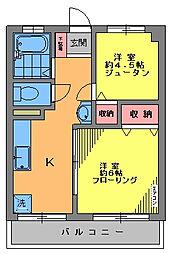 池第一コーポ[4階]の間取り