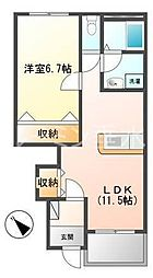 兵庫県三木市志染町広野8丁目の賃貸アパートの間取り