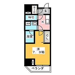 江戸川橋ステーションレジデンス 3階1Kの間取り