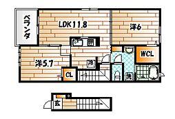 福岡県北九州市若松区花野路1丁目の賃貸アパートの間取り