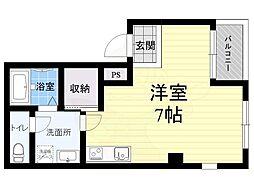 阪神本線 今津駅 徒歩1分の賃貸マンション 3階1LDKの間取り