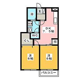 サワタリ コーポ[1階]の間取り
