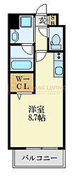 LANDIC K2620 14階ワンルームの間取り