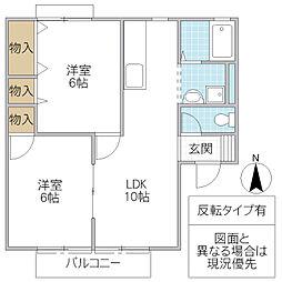 セジュール東台 B[203号室号室]の間取り
