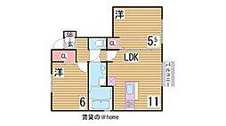 兵庫県神戸市灘区上野通8丁目の賃貸アパートの間取り