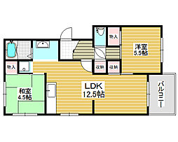 新金岡第3団地住宅13棟[3階]の間取り