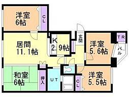 北海道札幌市清田区平岡二条4丁目の賃貸マンションの間取り