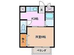 三重県四日市市大字六呂見の賃貸アパートの間取り