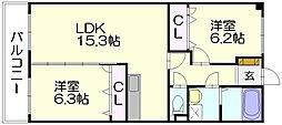 ヴァンクリーフセリ[3階]の間取り