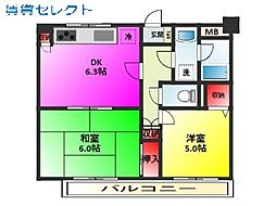 コスモ松戸胡録台[102号室]の間取り