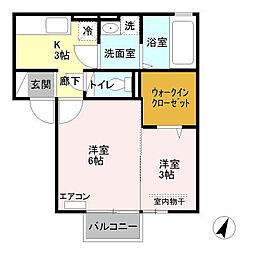 新潟県新潟市東区臨港1丁目の賃貸アパートの間取り
