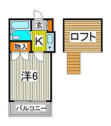 埼玉県川口市宮町の賃貸アパートの間取り