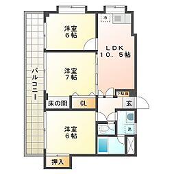 神奈川県川崎市幸区古市場2丁目の賃貸マンションの間取り