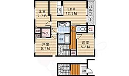 阪急千里線 北千里駅 バス10分 小野原西下車 徒歩4分の賃貸アパート 2階3LDKの間取り