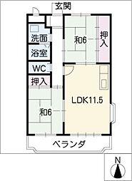 ソレイユ成田[2階]の間取り