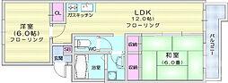 仙台市営南北線 北四番丁駅 徒歩11分の賃貸マンション 7階2LDKの間取り