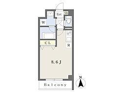 JR仙石線 榴ヶ岡駅 徒歩10分の賃貸マンション 2階ワンルームの間取り