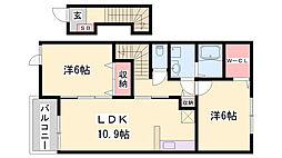 JR姫新線 本竜野駅 徒歩29分の賃貸アパート 2階2LDKの間取り