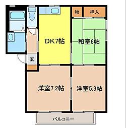 バリュージュ田中B棟[2階]の間取り