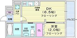 仙台市地下鉄東西線 川内駅 徒歩19分の賃貸マンション 4階1DKの間取り
