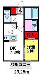 福岡県小郡市小板井の賃貸アパートの間取り
