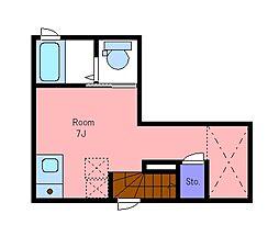 京王線 西調布駅 徒歩4分の賃貸アパート 2階ワンルームの間取り