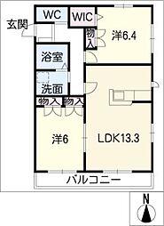 Hebel maisonのだ 2階2LDKの間取り