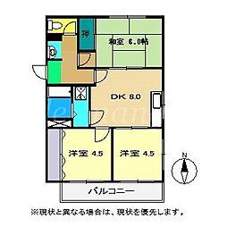 西山ハイツ3[2階]の間取り