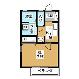 グランメゾンwatanabe金城町 2階1Kの間取り