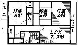 京阪本線 西三荘駅 徒歩15分の賃貸マンション 3階3DKの間取り