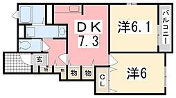 兵庫県姫路市飾西の賃貸アパートの間取り