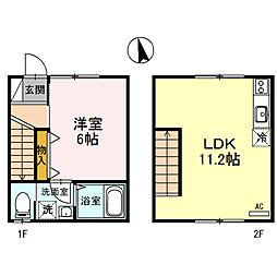 兵庫県姫路市山吹2丁目の賃貸アパートの間取り