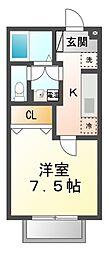 滋賀県大津市雄琴北2丁目の賃貸アパートの間取り