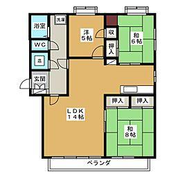 西坂ハイツ[3階]の間取り