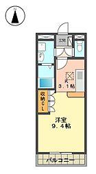 愛知県日進市野方町西島の賃貸マンションの間取り