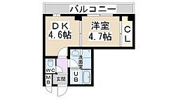 パークステージ夙川 2階1DKの間取り