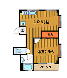 東京都国分寺市東元町4丁目の賃貸マンションの間取り