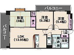 モンアルカディア三宅弐番館[901号室]の間取り