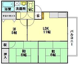 広島県廿日市市串戸4丁目の賃貸アパートの間取り