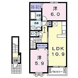 和歌山県和歌山市狐島の賃貸アパートの間取り