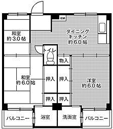 ビレッジハウス伏屋6号棟[5階]の間取り