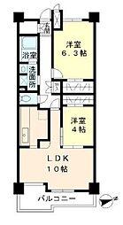 JR山手線 目白駅 徒歩3分の賃貸マンション 2階2LDKの間取り