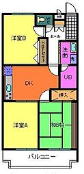 グランソレイユ深井[102号室]の間取り