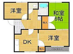 兵庫県西宮市若山町の賃貸アパートの間取り