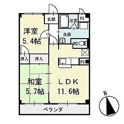 キングハクバA棟 1階[102号室]の間取り