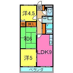 兵庫県小野市神明町の賃貸アパートの間取り