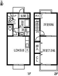 [テラスハウス] 愛知県名古屋市中川区伏屋2丁目 の賃貸【/】の間取り