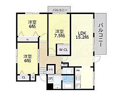 大阪モノレール本線 少路駅 徒歩13分の賃貸マンション 3階3LDKの間取り
