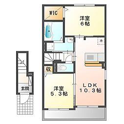 三重県四日市市東富田町の賃貸アパートの間取り